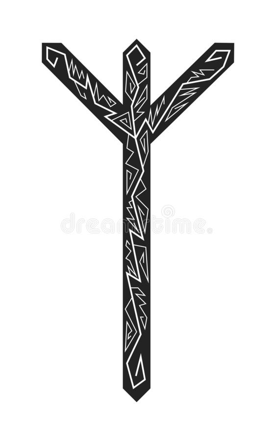 Algiz Elgiz rune. Ancient Scandinavian runes. Runes senior futarka. Magic, ceremonies, religious symbols. Predictions and amulets. Ornament lightning. White stock illustration