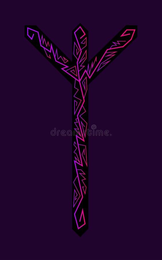 Algiz Elgiz rune. Ancient Scandinavian runes. Runes senior futarka. Magic, ceremonies, religious symbols. Predictions and amulets. Ornament lightning. Dark stock illustration