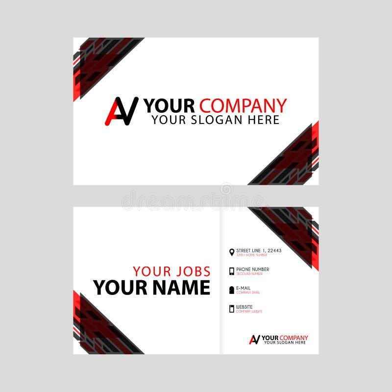 Algo como la nueva tarjeta de visita simple es negro rojo con la prima de la letra del logotipo del sistema de pesos americano y  stock de ilustración
