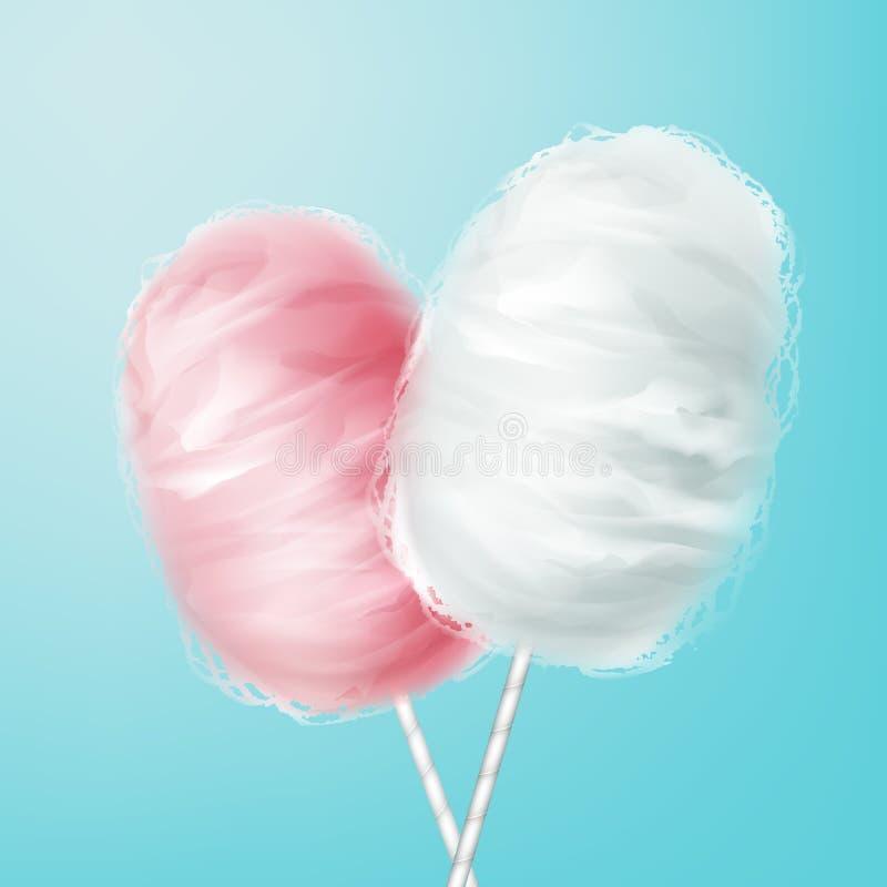 Algodão doce cor-de-rosa, branco ilustração do vetor