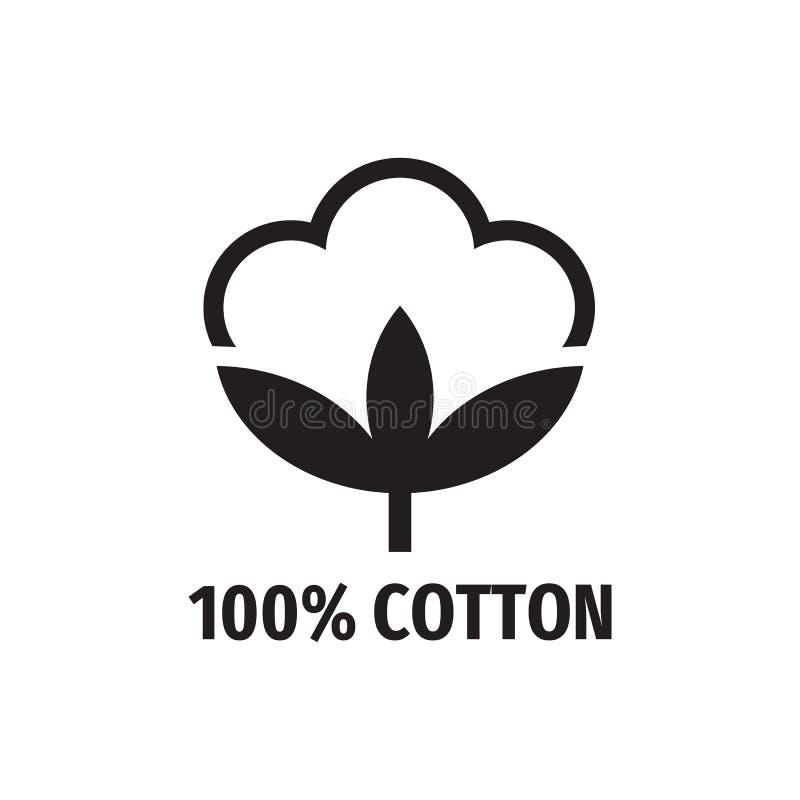 100% algodão - projeto do ícone do preto da Web Sinal da fibra natural Ilustra??o do vetor ilustração royalty free