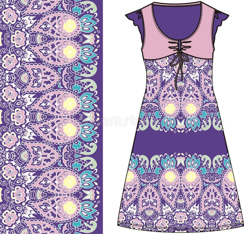 Algodão roxo e cor-de-rosa do vestido do verão das mulheres do esboço das cores da tela, seda, jérsei com teste padrão oriental d ilustração stock