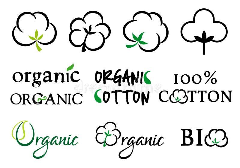 Algodón orgánico, sistema del vector ilustración del vector