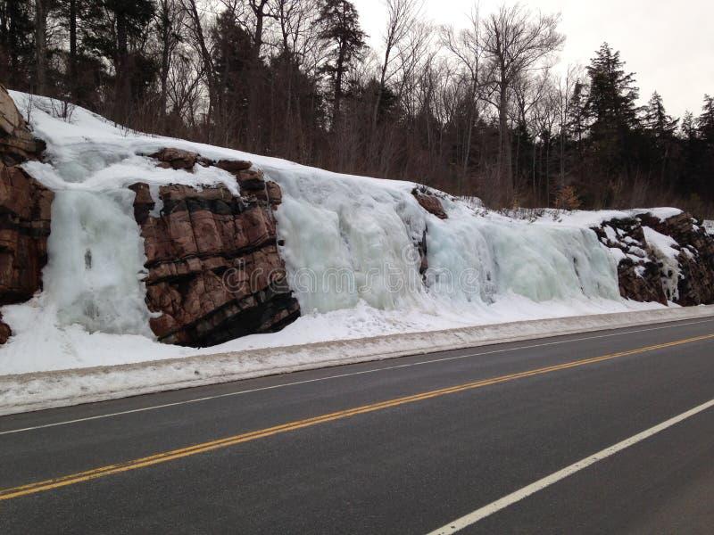 Algonquin πάρκο Οντάριο, καταρράκτες πάγου στοκ φωτογραφία