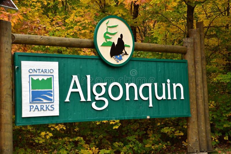 Algonquin σημάδι πάρκων στοκ εικόνες