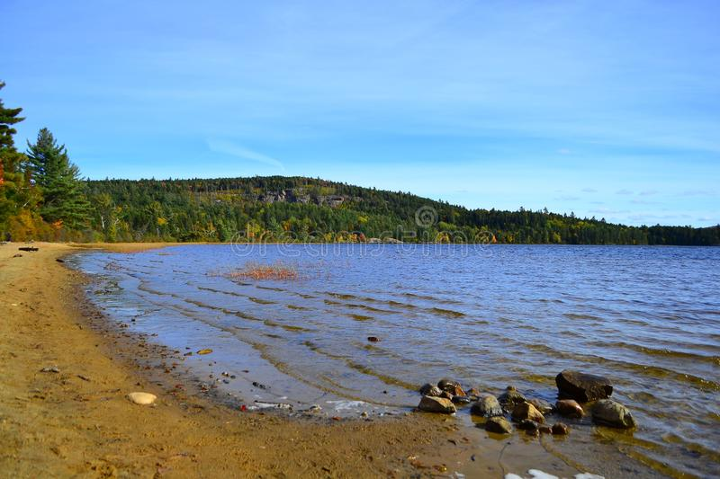 Algonquin Provincial Park, Ontario, Canada. Beautiful fall landscape with lake and mountains royalty free stock image