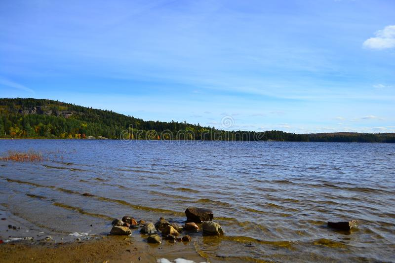 Algonquin Provincial Park, Ontario, Canada. Beautiful fall landscape with lake and mountains. N stock photography