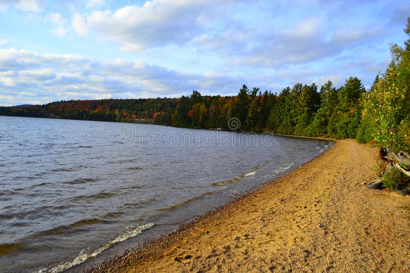 Algonquin Provincial Park, Ontario, Canada. Beautiful fall landscape with lake and mountains stock photos