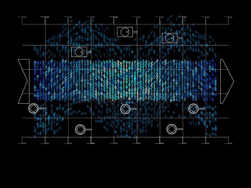 Algorithm for analyzing the digital cryptography data flow infographic. Vector illustrations. Big data. Digital visualization for. Presentation vector illustration