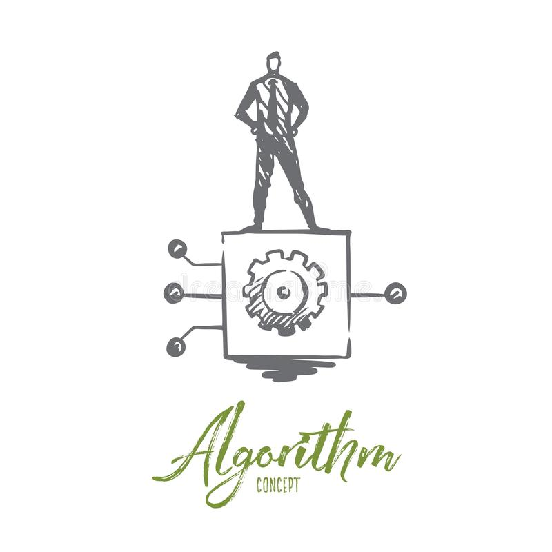 Algorithm, business, information, system, digital concept. Hand drawn isolated vector. vector illustration