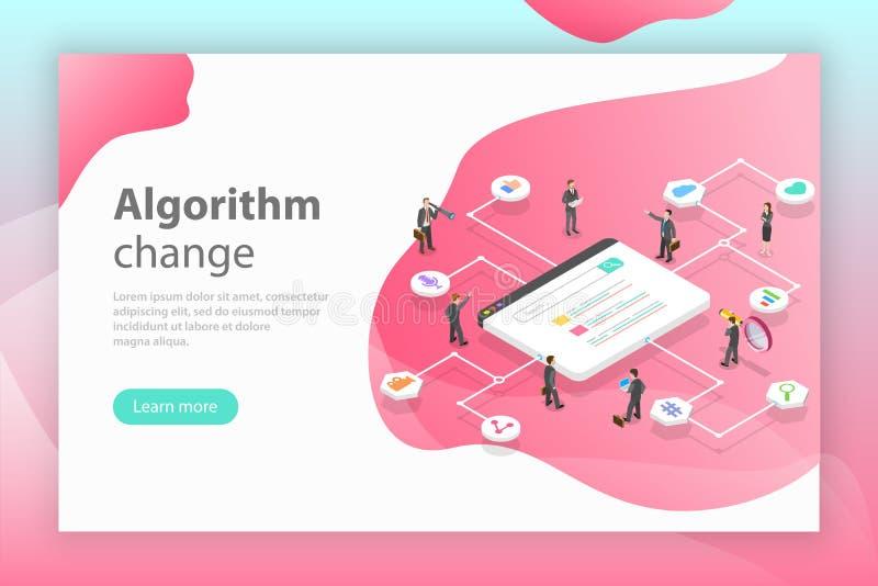 Algorithm change isometric flat vector conceptual illustration. stock illustration