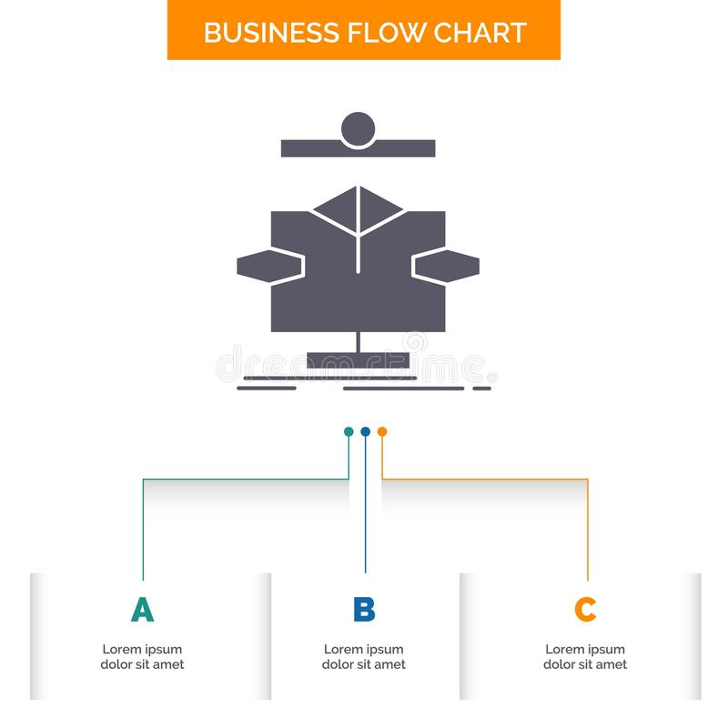 Algorithm, chart, data, diagram, flow Business Flow Chart Design with 3 Steps. Glyph Icon For Presentation Background Template. Place for text.. Vector EPS10 vector illustration