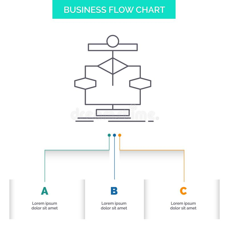 Algorithm, chart, data, diagram, flow Business Flow Chart Design with 3 Steps. Line Icon For Presentation Background Template. Place for text. Vector EPS10 royalty free illustration