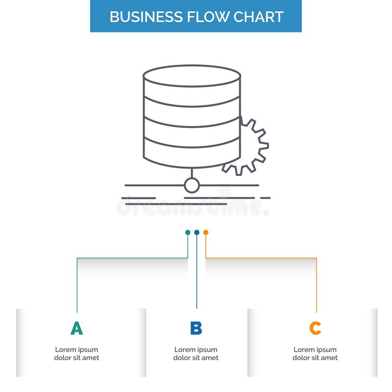 Algorithm, chart, data, diagram, flow Business Flow Chart Design with 3 Steps. Line Icon For Presentation Background Template. Place for text. Vector EPS10 vector illustration
