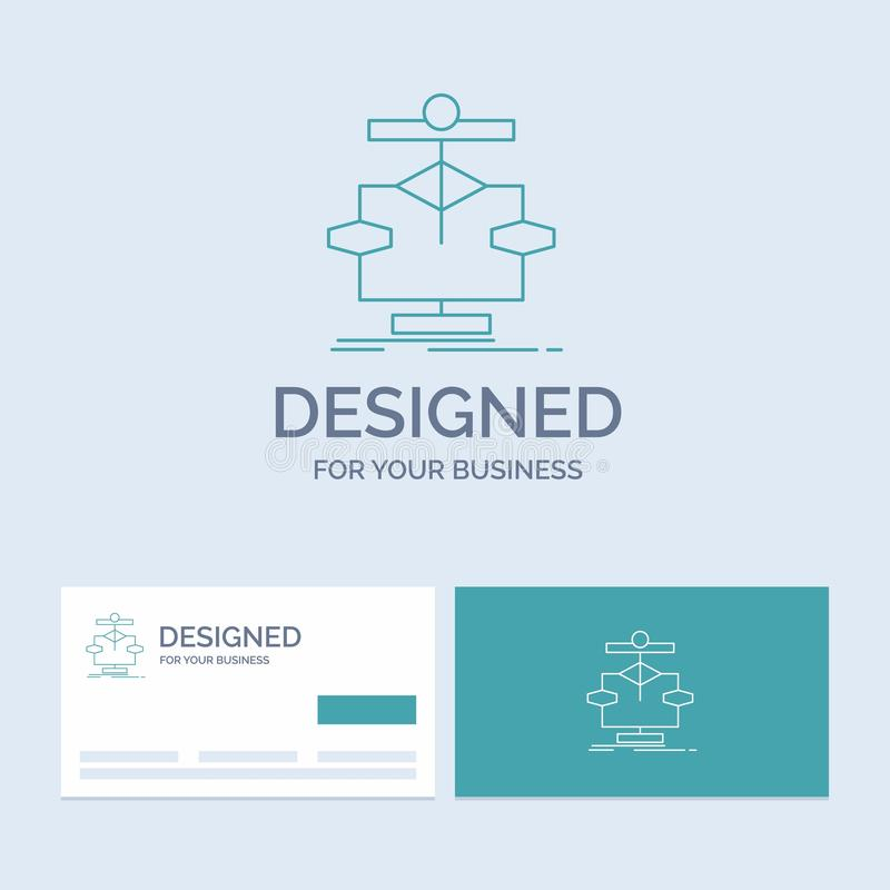 Algorithm, chart, data, diagram, flow Business Logo Line Icon Symbol for your business. Turquoise Business Cards with Brand logo. Template. Vector EPS10 stock illustration