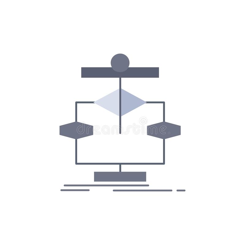 Algorithm, chart, data, diagram, flow Flat Color Icon Vector royalty free illustration