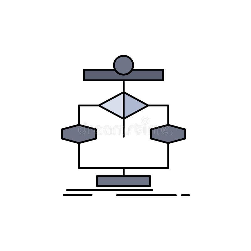Algorithm, chart, data, diagram, flow Flat Color Icon Vector vector illustration
