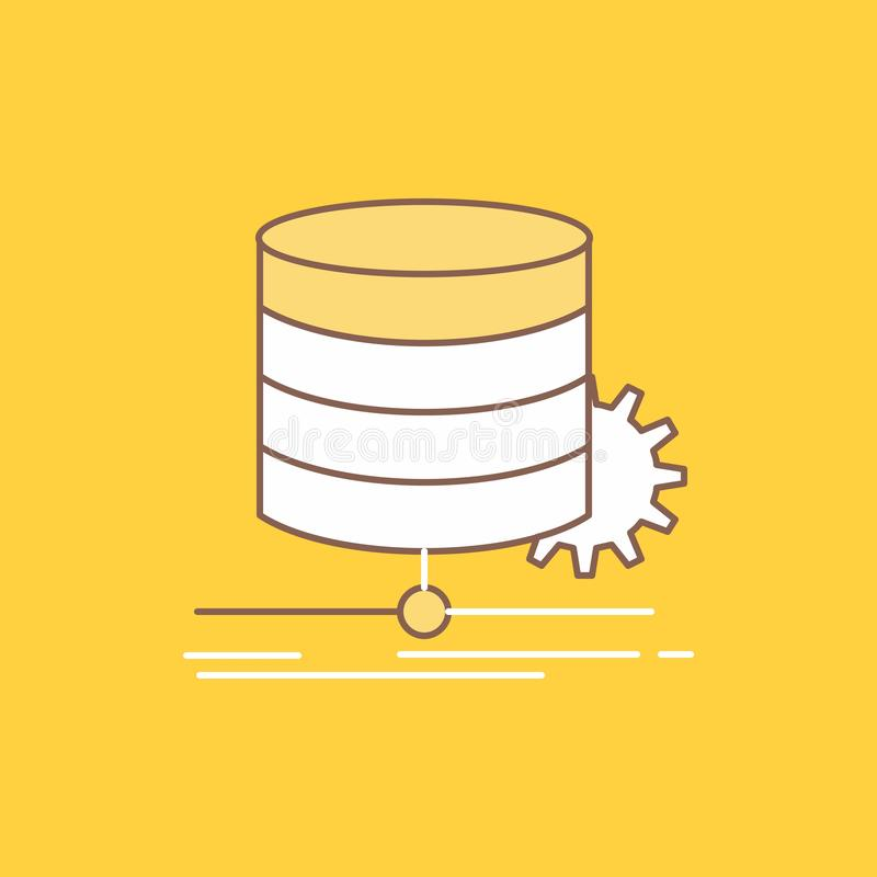 Algorithm, chart, data, diagram, flow Flat Line Filled Icon. Beautiful Logo button over yellow background for UI and UX, website. Or mobile application. Vector royalty free illustration