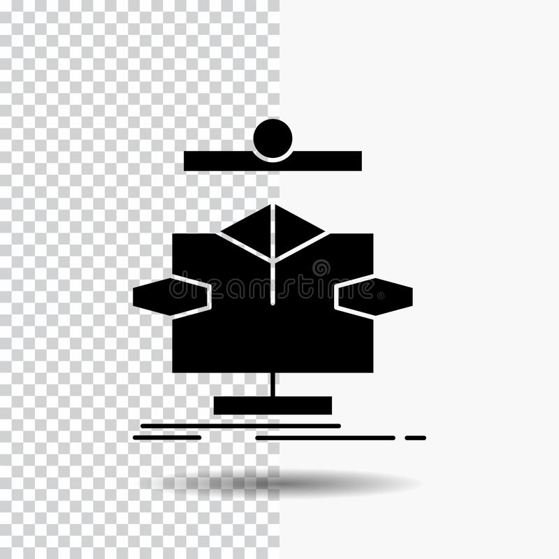 Algorithm, chart, data, diagram, flow Glyph Icon on Transparent Background. Black Icon. Vector EPS10 Abstract Template background stock illustration