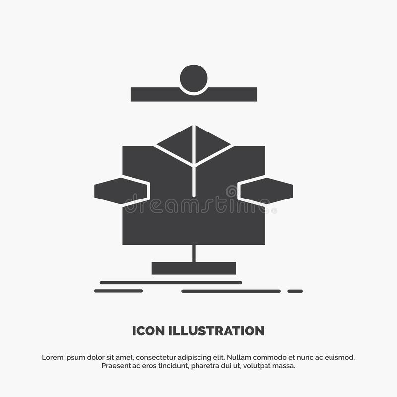 Algorithm, chart, data, diagram, flow Icon. glyph vector gray symbol for UI and UX, website or mobile application vector illustration