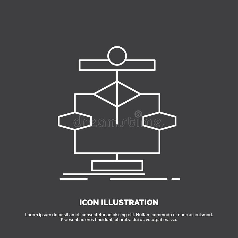 Algorithm, chart, data, diagram, flow Icon. Line vector symbol for UI and UX, website or mobile application. Vector EPS10 Abstract Template background stock illustration