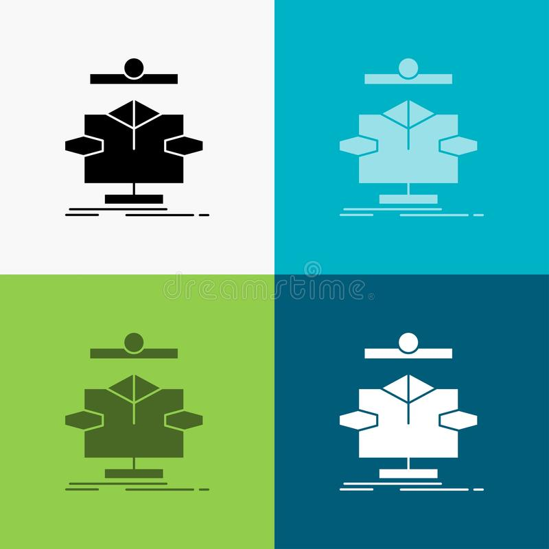 Algorithm, chart, data, diagram, flow Icon Over Various Background. glyph style design, designed for web and app. Eps 10 vector. Illustration. Vector EPS10 stock illustration