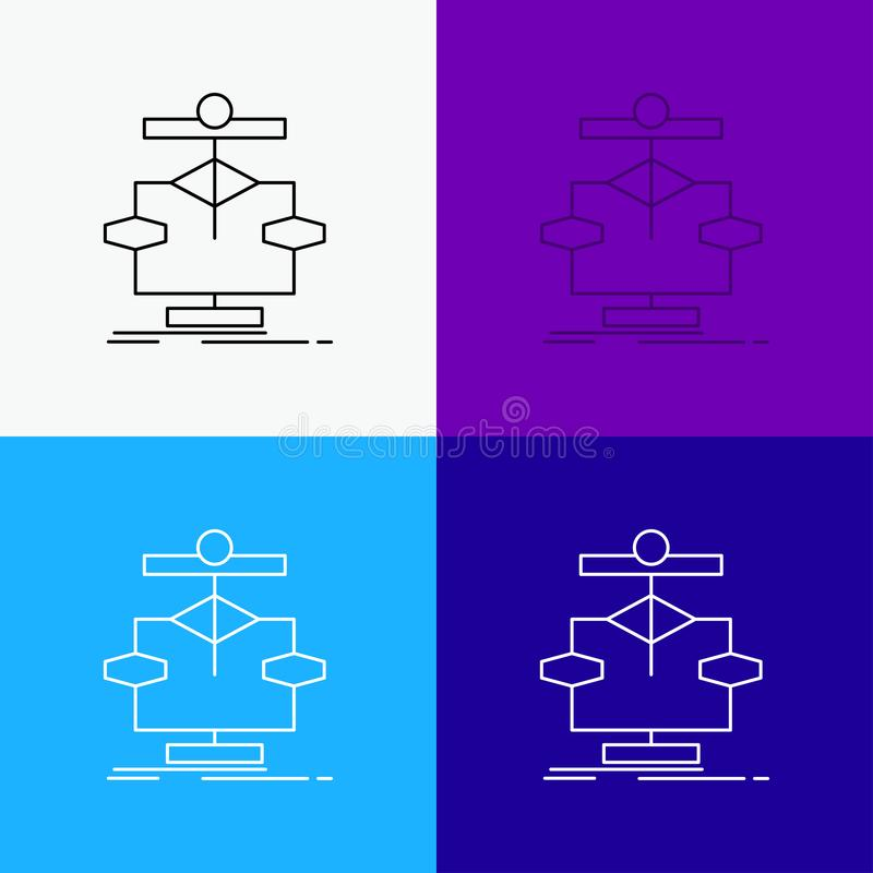Algorithm, chart, data, diagram, flow Icon Over Various Background. Line style design, designed for web and app. Eps 10 vector. Illustration. Vector EPS10 stock illustration