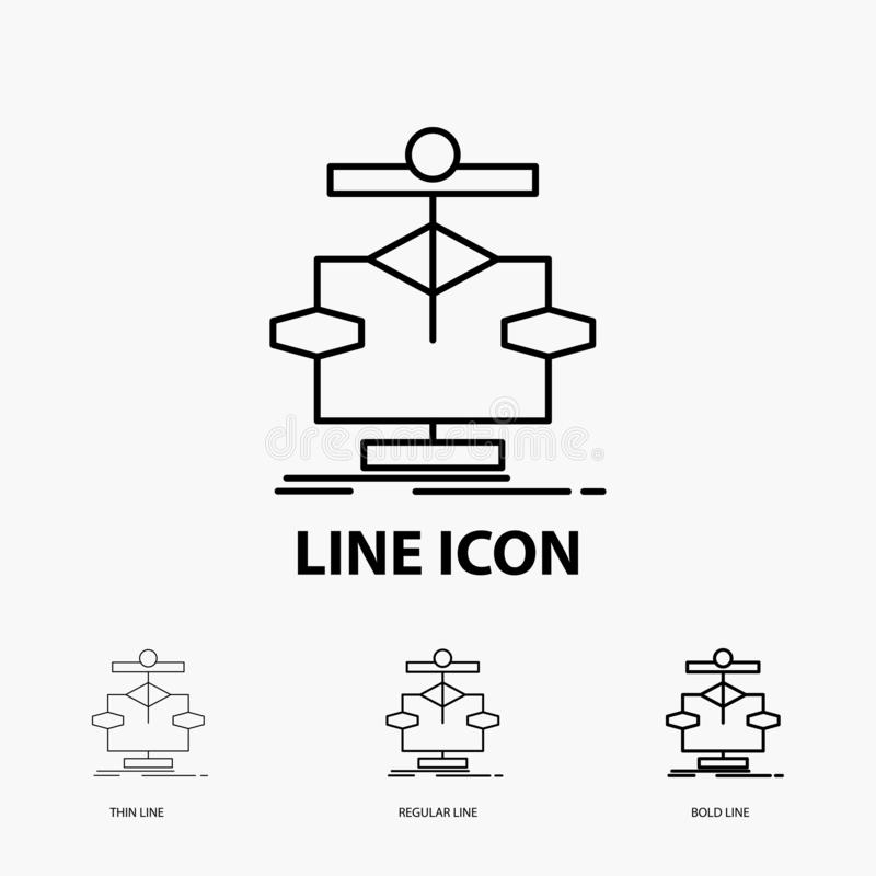Algorithm, chart, data, diagram, flow Icon in Thin, Regular and Bold Line Style. Vector illustration stock illustration