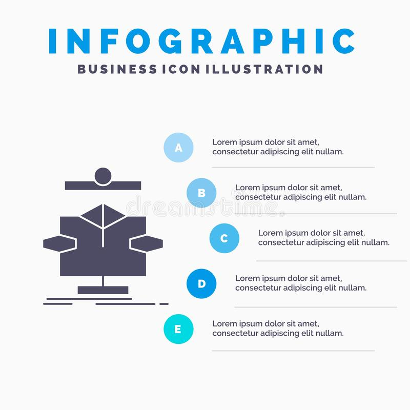 Algorithm, chart, data, diagram, flow Infographics Template for Website and Presentation. GLyph Gray icon with Blue infographic. Style vector illustration stock illustration