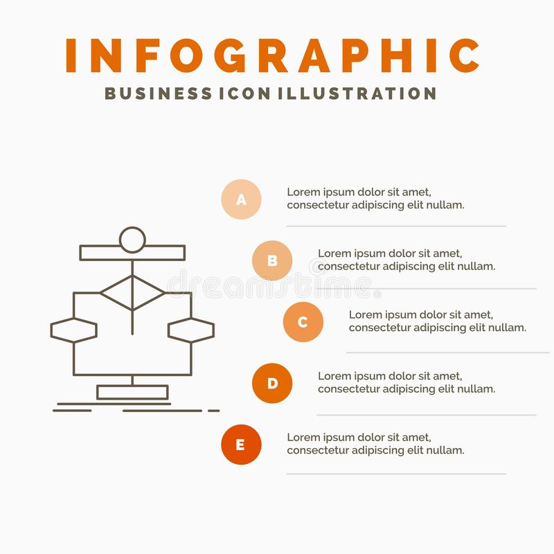 Algorithm, chart, data, diagram, flow Infographics Template for Website and Presentation. Line Gray icon with Orange infographic. Style vector illustration royalty free illustration