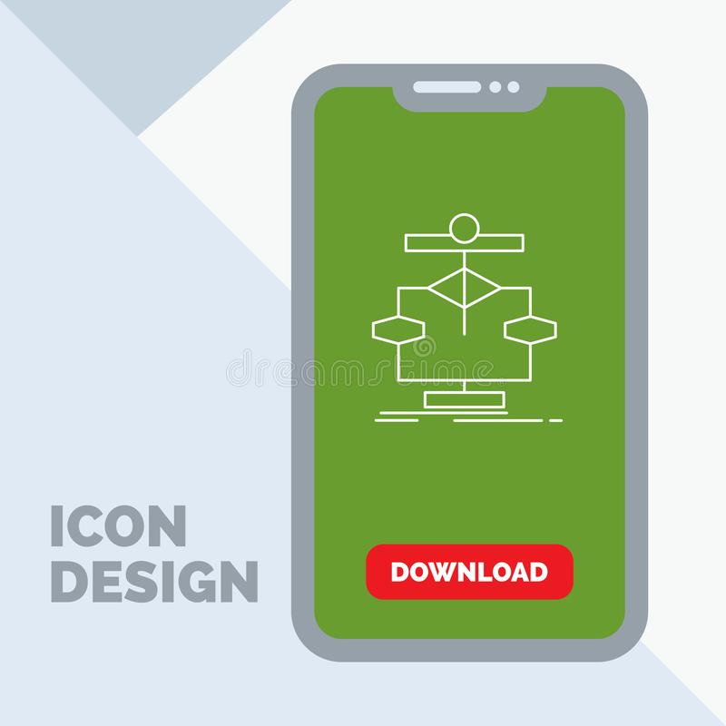Algorithm, chart, data, diagram, flow Line Icon in Mobile for Download Page stock illustration
