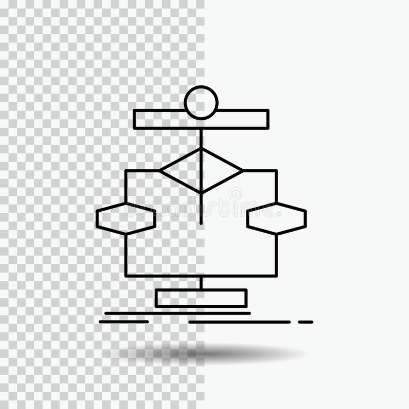 Algorithm, chart, data, diagram, flow Line Icon on Transparent Background. Black Icon Vector Illustration. Vector EPS10 Abstract Template background royalty free illustration