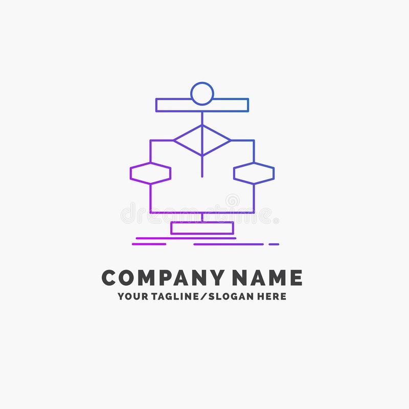 Algorithm, chart, data, diagram, flow Purple Business Logo Template. Place for Tagline. Vector EPS10 Abstract Template background vector illustration