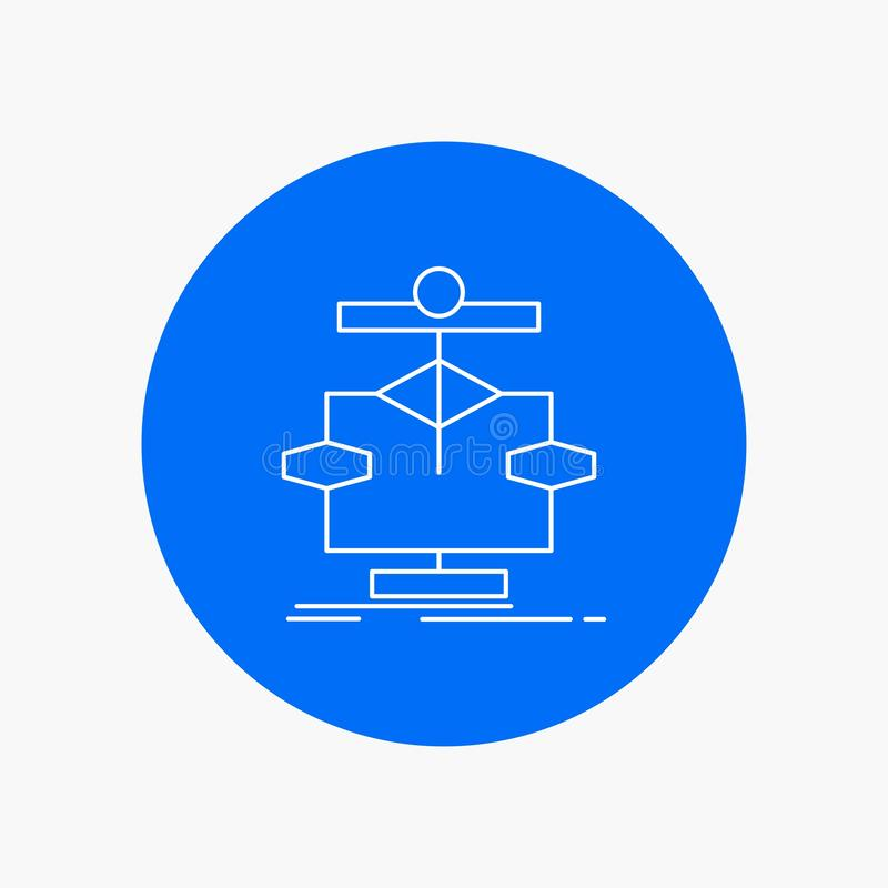 Algorithm, chart, data, diagram, flow White Line Icon in Circle background. vector icon illustration stock illustration