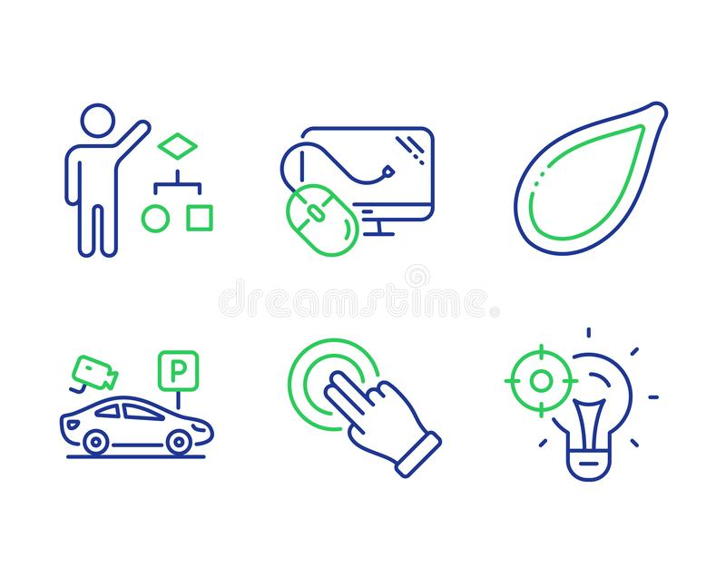 Algorithm, Computer mouse and Pumpkin seed icons set. Touchscreen gesture, Parking security and Seo idea signs. Vector. Algorithm, Computer mouse and Pumpkin stock illustration