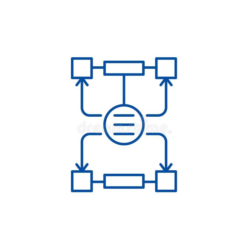 Algorithm of decisions line icon concept. Algorithm of decisions flat  vector symbol, sign, outline illustration. vector illustration