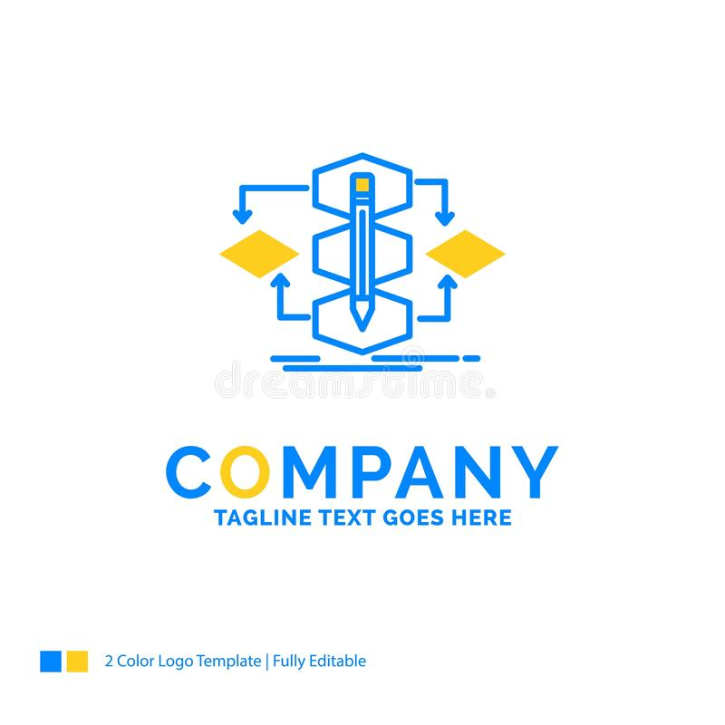Algorithm, design, method, model, process Blue Yellow Business L. Ogo template. Creative Design Template Place for Tagline stock illustration