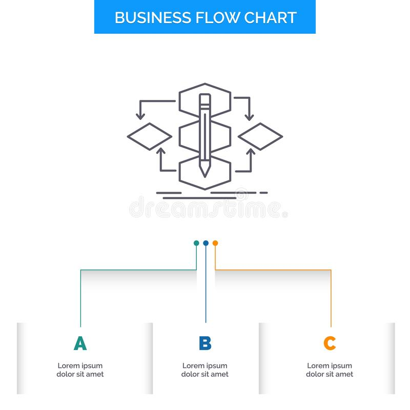 Algorithm, design, method, model, process Business Flow Chart Design with 3 Steps. Line Icon For Presentation Background Template. Place for text. Vector EPS10 vector illustration