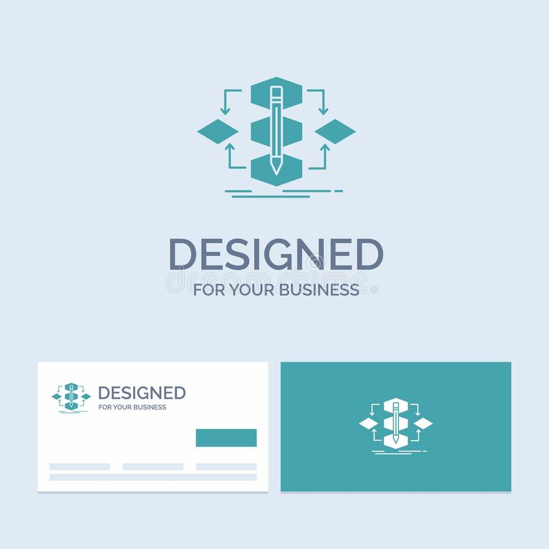 Algorithm, design, method, model, process Business Logo Glyph Icon Symbol for your business. Turquoise Business Cards with Brand. Logo template.. Vector EPS10 stock illustration