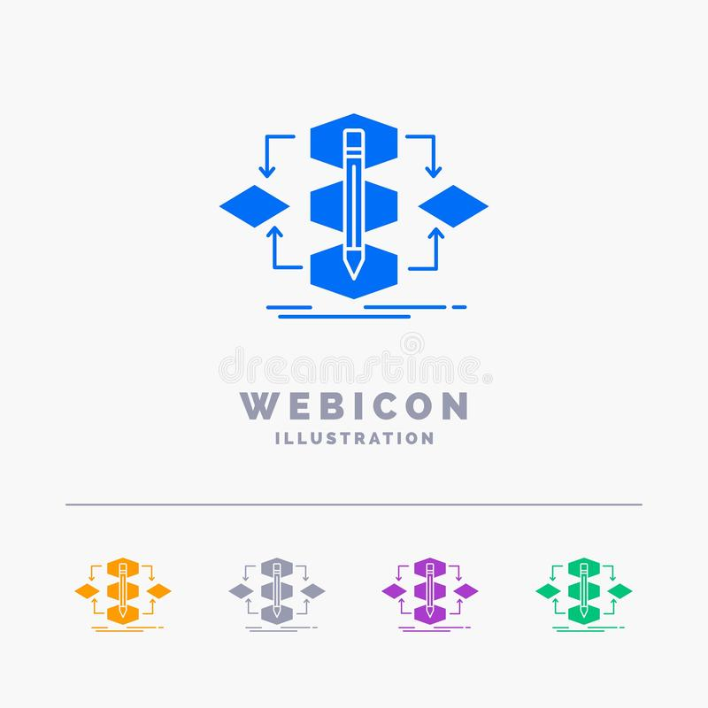 Algorithm, design, method, model, process 5 Color Glyph Web Icon Template isolated on white. Vector illustration. Vector EPS10 Abstract Template background stock illustration