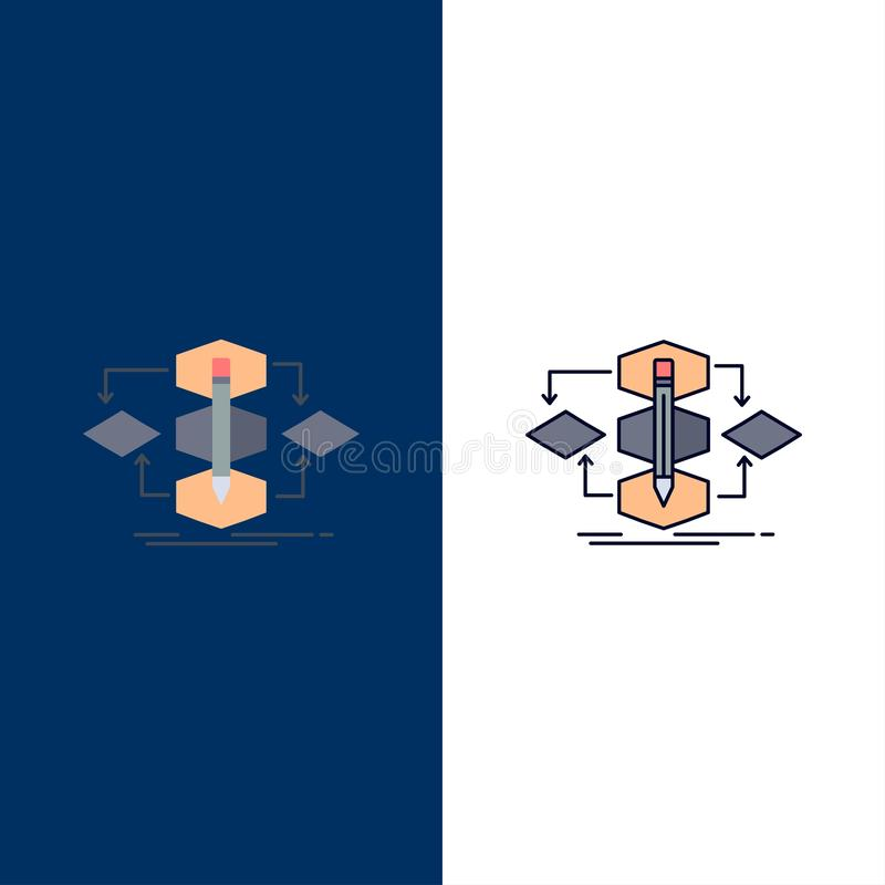 Algorithm, design, method, model, process Flat Color Icon Vector royalty free illustration