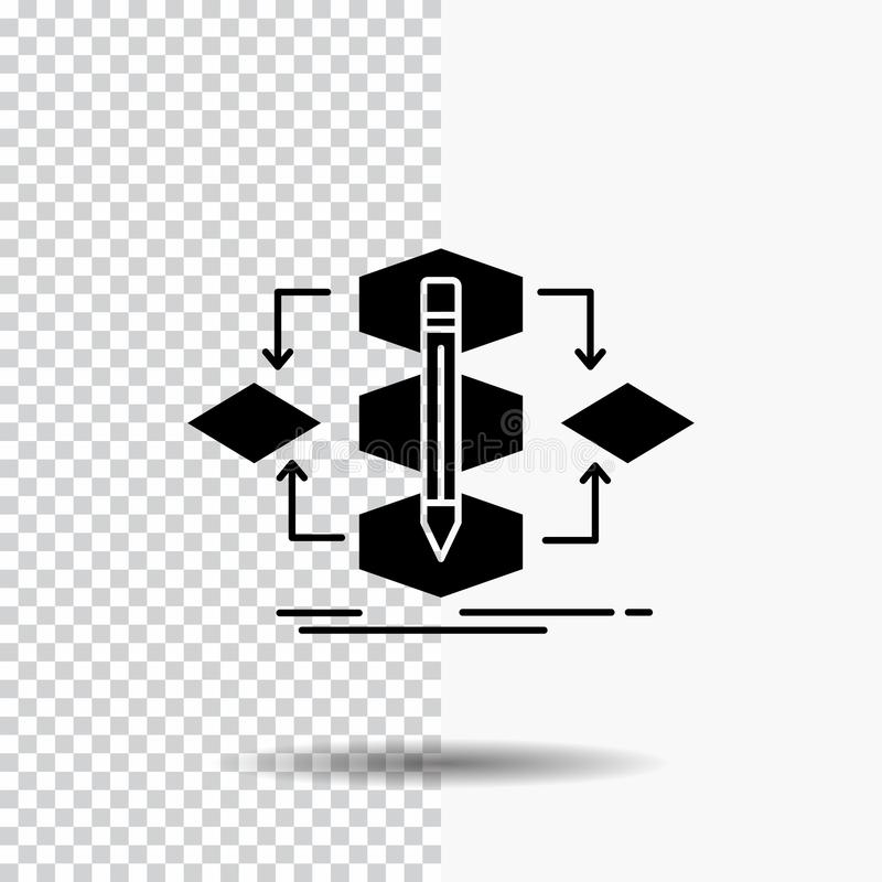 Algorithm, design, method, model, process Glyph Icon on Transparent Background. Black Icon. Vector EPS10 Abstract Template background stock illustration
