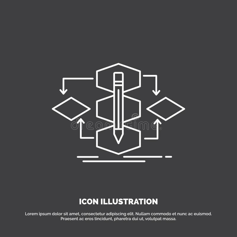 Algorithm, design, method, model, process Icon. Line vector symbol for UI and UX, website or mobile application. Vector EPS10 Abstract Template background royalty free illustration