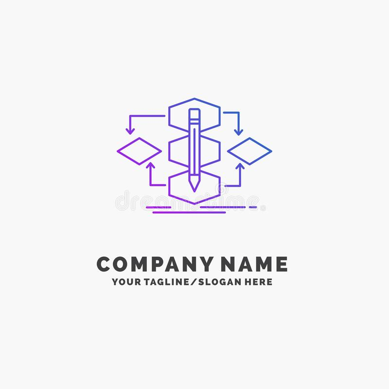 Algorithm, design, method, model, process Purple Business Logo Template. Place for Tagline. Vector EPS10 Abstract Template background stock illustration