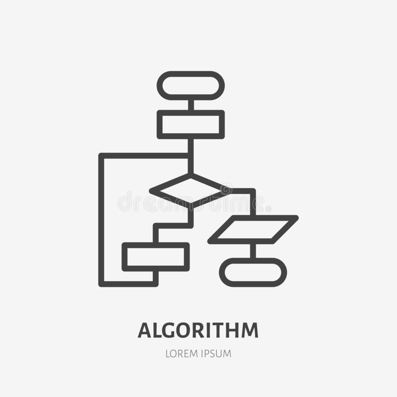 Algorithm flat line icon. Vector thin sign of workflow, diagram logo. Business scheme outline illustration.  royalty free illustration