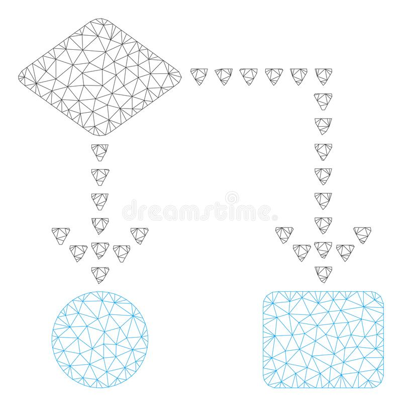 Algorithm Flowchart Polygonal Frame Vector Mesh Illustration. Mesh algorithm flowchart polygonal icon illustration. Abstract mesh lines and dots form triangular stock illustration