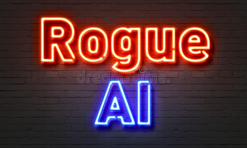 Algorithm neon sign on brick wall background. stock illustration