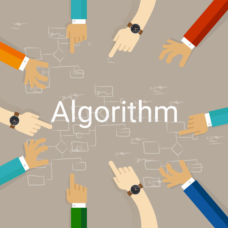 Algorithm problem solving flow chart hands working together as a team. Vector vector illustration