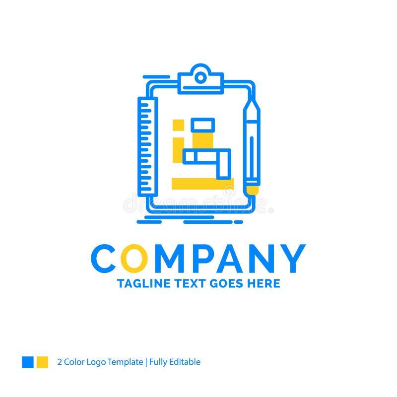Algorithm, process, scheme, work, workflow Blue Yellow Business. Logo template. Creative Design Template Place for Tagline vector illustration