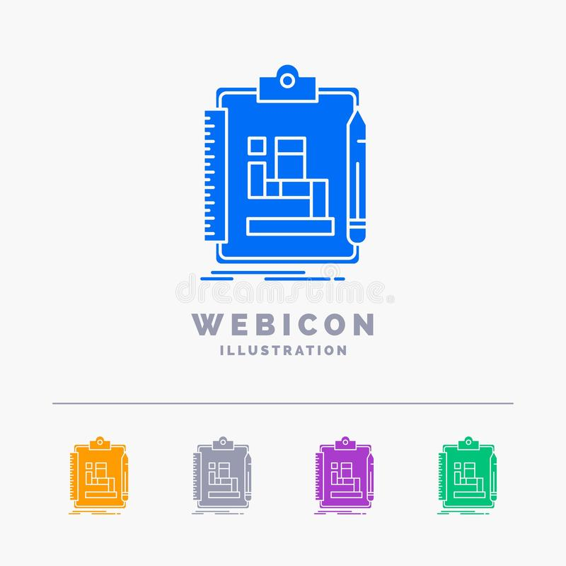 Algorithm, process, scheme, work, workflow 5 Color Glyph Web Icon Template isolated on white. Vector illustration. Vector EPS10 Abstract Template background vector illustration